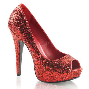 Shoes - 5 Inch High Heel Platform Glitter Stiletto Shoes